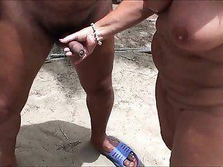 Wifes shaved masturbate penis on beach