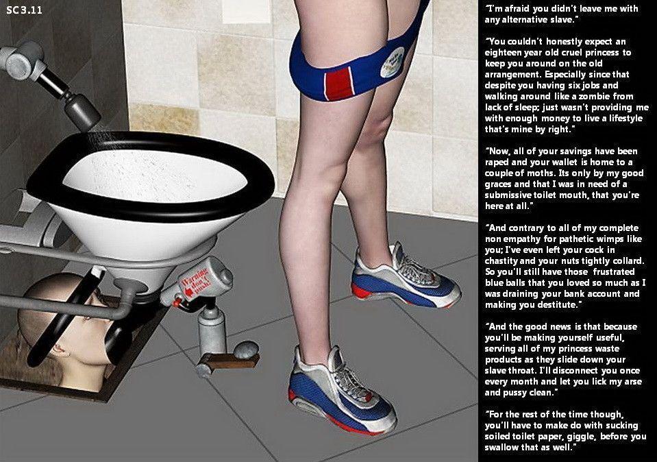 Femdom husband used as toilet