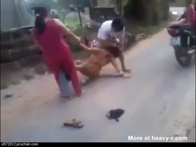 Real women street fighting nude