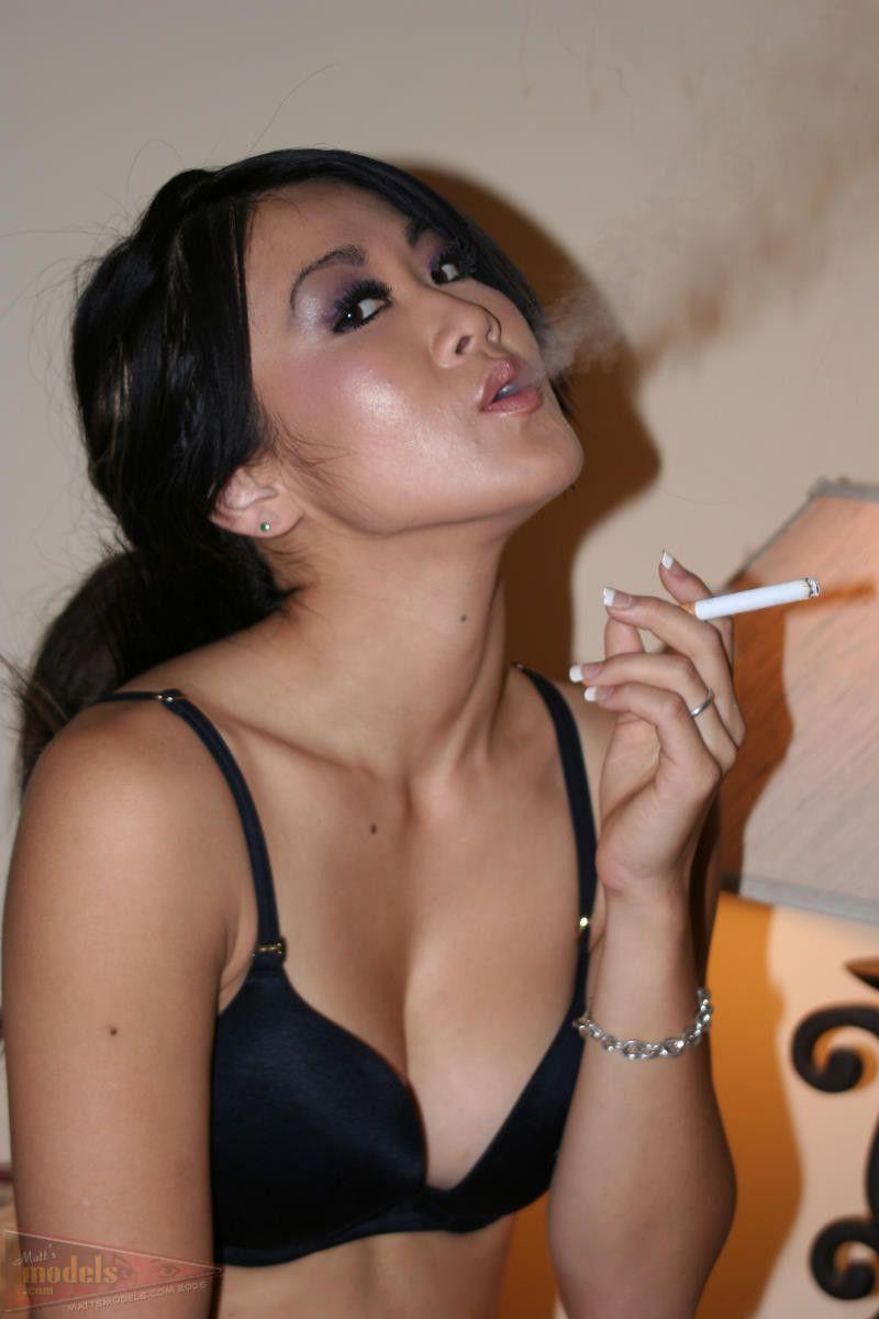 Asian girl smoking fetish